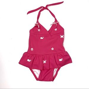 JANIE AND JACK Pink Ruffle Embroidered One Piece